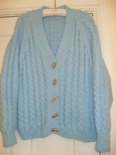 HAND KNIT ARAN WOOL VINTAGE STYLE CARDIGAN VERY CHUNKY DESIGN SIZE 16 CHEST 44""