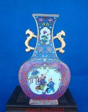 Antique Handmade Painting Cloisonne Porcelain Vase woman YongZheng Dynasty