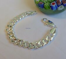 925 sterling silver filled/plated men curb chain bracelet 20cm 10mm