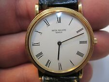 MENS PATEK PHILLIPPE HOB NOB 18k GOLD screw back REF # 3520 MENS RUNNING WATCH