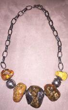 RARE À VOIR Collier  Necklace  Argent Silver 925 Et Ambre Amber 134 Gr A Voir