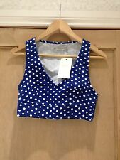 ZARA BRALET crop Top SIZE S 8 DENIM polka DOT TOP BNWT