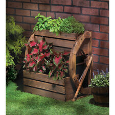 WAGON WHEEL DOULBE~TIER RUSTIC FINISH PLANTER GARDEN YARD DECOR NEW~13842