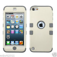 For iPod Touch 5th / 6th Gen Hybrid Armor Case Full Body Cover Pearl White/Gray