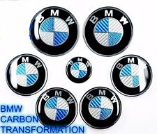 NEW BMW 7pcs BMW CARBON BLUE Emblems Full Set,Wheel cover hood trunk e60 e61 X