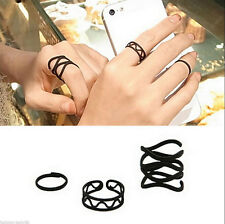 3Pcs/Set  Fashion Black Punk Stack Plain Above Knuckle Midi Finger Rings