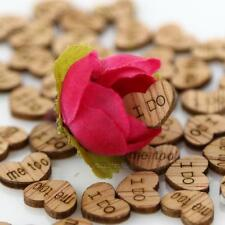 100 × Rustic Wooden Wood I Do Me too Love Heart Wedding Table Scatter Decoration