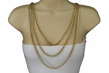 Women Gold Metal Body Chains Fashion Jewelry Necklace Shoulder Front Back Wave