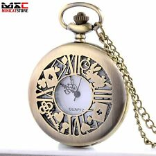 Antique Bronze Alice In Wonderland Pocket Watch Necklace Quartz Retro Gift MN