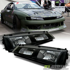 Fits 1997-1998 240SX S14 Kouki JDM Black Crystal Headlights Lights Lamps 97-98