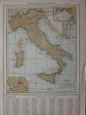 1926 MAP ~ ITALIA NAPOLI CORSICA SICILIA ROMA VENEZIA Toscana Lombardia UMBRIA