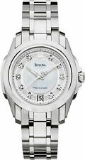 Bulova Women's 96P115 Precisionist Longwood Diamond MOP Dial Date Watch NEW.
