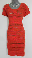 Monsoon Red Orange IZZY Short Sleeve Pointelle Crochet Knit Dress Tunic M