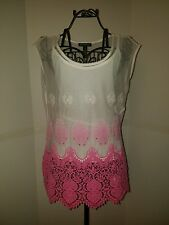"'INC"" Womens 2FER Pink Embroidered Ombre Embellished Crochet Tank Top Shirt ""M"""
