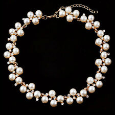 Fashion Crystal Pearl Choker Chunky Statement Charm Necklace Gold Women Jewelry