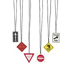 12 New Assorted Religious Road Sign Necklaces #N2072