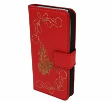 Edles iPhone 5 5S  Tasche Schutz Hülle  Case Cover Etui Rot Butterfly