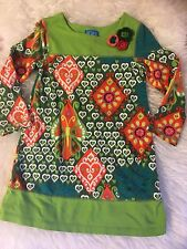 EUC THE CHILDREN'S PLACE GIRLS LONG SLEEVE PRINTED COTTON SHIFT DRESS~4T/4~WOW!