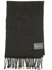 $70 JOHN ASHFORD MEN'S SOLID BLACK UNISEX ACRYLIC WINTER SHAWL MUFFLER SCARF