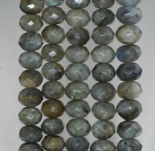 11X8-12X8MM LABRADORITE GEMSTONE GRADE A FACETED RONDELLE LOOSE BEADS 15.5""