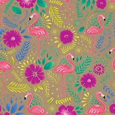 """Pink Flamingo Floral Gift Wrap Roll 24"""" X 15' Birthday Party Holiday Flowers"""