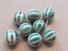 4 Green White Round 16mm  Porcelain Beads (T2A22)