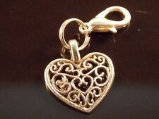 FILAGREE HEART SHAPE Silver tone clip on charm for bracelet lobster clasp