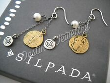 Designer SILPADA Brass Coin, Pearl, & Sterling Earrings (W1974) $39MSRP