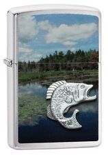 Zippo 29408 fish in mountain lake brushed chrome emblem Lighter