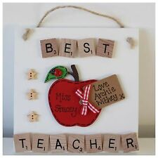 Personalised Best Teacher Nursery Red Apple Plaque Sign Thank You Leaving Gift