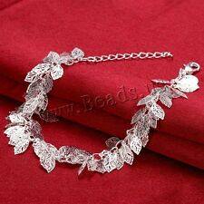Women Fashion 925 Sterling Silver Plated Leaf New Bracelet Bangle Jewelry AUVO9