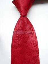 Men's Fashion Cool Comfortable Classic Red Rose Pattern Tie Business Necktie