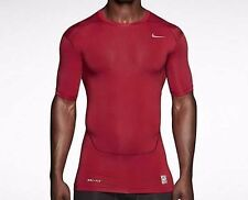 Nike Pro Combat Compression Short Sleeve Shirt Red Mens XXL 2XL 449792