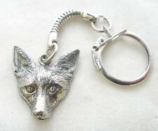 Fox Lovers Key-ring, keychain in Fine English Pewter, Handmade (wa)
