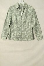 S6102 Croft & Barrow Women's Small Green Floral Full Zip Long Sleeve Blouse