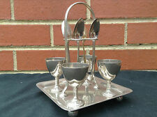 Antique Silver Plate Egg Cups & Spoons on Stand - No1