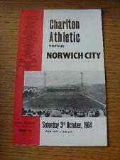 03/10/1964 Charlton Athletic v Norwich City  . Item In very good condition unles