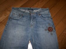 WOMENS GUESS PREMIUM FALCON LOW RISE BOOT JEANS 30 X 34 STUDS RED RHINESTONE
