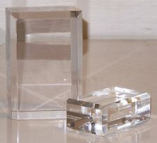 Clear Acrylic Lucite Block Display Stand SET 2 Beveled Polished Vintage