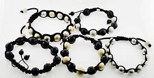 Lot of 5 Metal Glass Beads Shamballa Adjustable Boho Bracelets Men Women