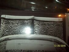 Hometrends lot of 2 ZEBRA Black/Gray Shams + (Double) Black Bed Skirt-NWOT
