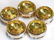 5 - 2 HOLE SLIDER, SPACER BEADS ROUND TOPAZ GLASS LOOK ACRYLIC RIVOLI GOLD TONE