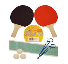 2 PLAYER TABLE TENNIS PING PONG SET BATS 3 BALLS NET POLE SET