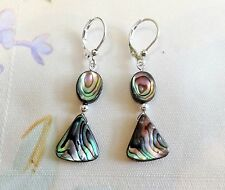 Gorgeous Abalone MOP Dangle Earrings with Sterling Lever-backs