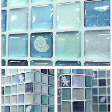 Home Décor Beauty Anti Fungal Waterproof Bathroom NEW 3D Mosaic Sticker Sea Blue