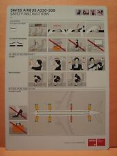 SWISS INTERNATIONAL AIR LINES SWISS AIRBUS A330-300 SAFETY INSTRUCTIONS CARD