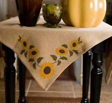 """SUNFLOWER NATURAL BURLAP TABLE CLOTH / TOPPER 40X40"""" STENCILED SUNFLOWERS"""