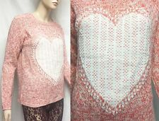 LOVE KNITWEAR 12 40 Acrylic Crew Round Neck HEART Sweater Women Juniors Lady NEW