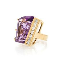 Heavy 14k Yellow Gold Designer Ring With A Fantasy Cut Amethyst And Diamonds