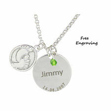 Personalised Baby Feet Disc & Gem Pendant name & date of bith necklace engraved
